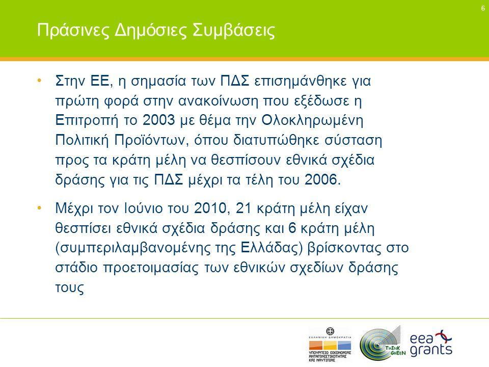 7 Πράσινες Δημόσιες Προμήθειες - Θεσμικό πλαίσιο και χρηματοδοτικά εργαλεία (1) •Οδηγίες για Δημόσιες Προμήθειες (2004/18/ΕΚ και 2004/17/ΕΚ) •Οδηγία 2006/32/ΕΚ για την ενεργειακή απόδοση κατά την τελική χρήση και τις ενεργειακές υπηρεσίες •Κανονισμός (ΕΚ) 106/2008 του Ευρωπαϊκού Κοινοβουλίου και του Συμβουλίου της 15ης Ιανουαρίου 2008 σχετικά με το κοινοτικό πρόγραμμα επισήμανσης της ενεργειακής απόδοσης του εξοπλισμού γραφείου (Energy Star)