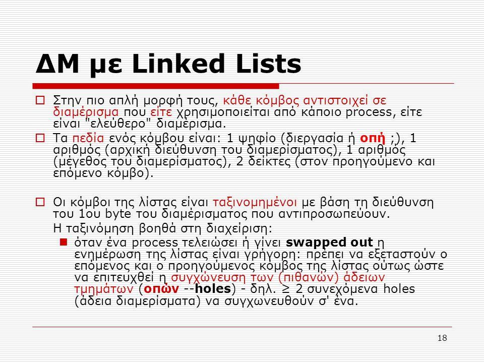 18 ΔΜ με Linked Lists  Στην πιο απλή μορφή τους, κάθε κόμβος αντιστοιχεί σε διαμέρισμα που είτε χρησιμοποιείται από κάποιο process, είτε είναι ελεύθερο διαμέρισμα.