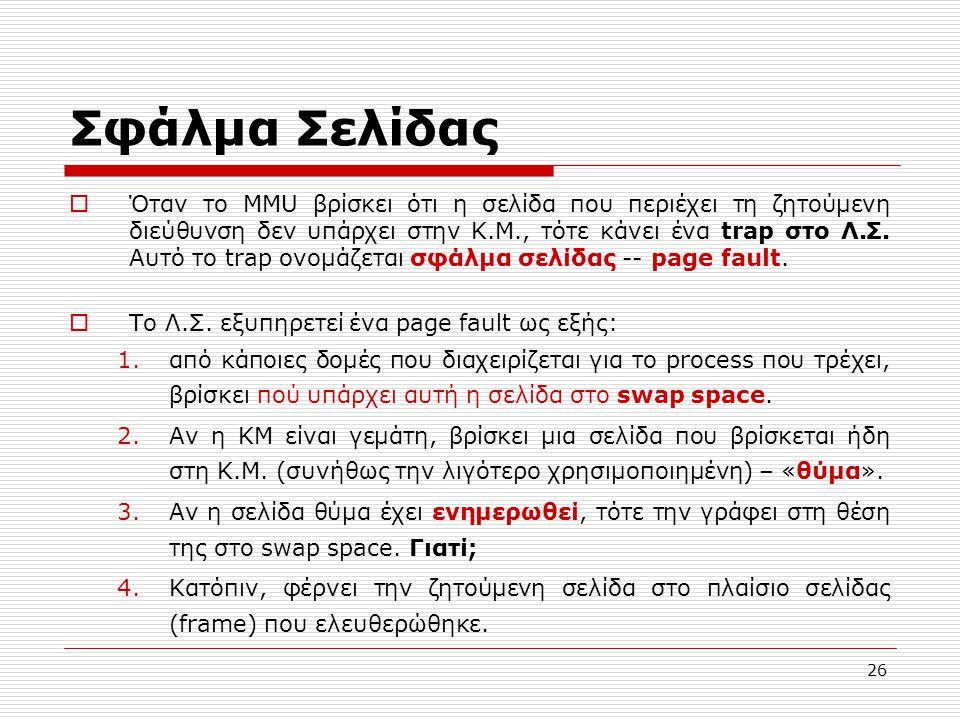 26 Σφάλμα Σελίδας  Όταν το MMU βρίσκει ότι η σελίδα που περιέχει τη ζητούμενη διεύθυνση δεν υπάρχει στην Κ.Μ., τότε κάνει ένα trap στο Λ.Σ. Αυτό το t