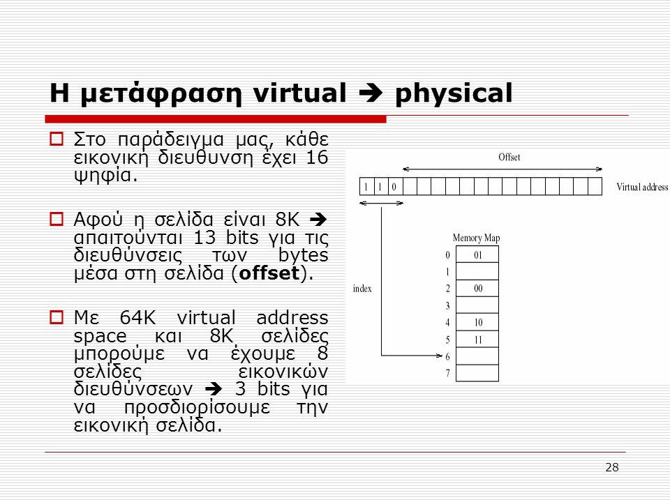 28 Η μετάφραση virtual  physical  Στο παράδειγμα μας, κάθε εικονική διευθυνση έχει 16 ψηφία.  Αφού η σελίδα είναι 8Κ  απαιτούνται 13 bits για τις