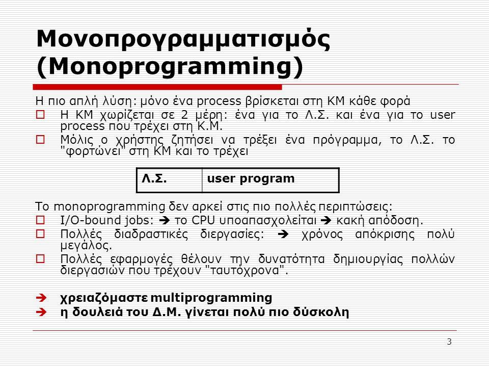 3 Μονοπρογραμματισμός (Monoprogramming) Η πιο απλή λύση: μόνο ένα process βρίσκεται στη ΚΜ κάθε φορά  Η ΚΜ χωρίζεται σε 2 μέρη: ένα για το Λ.Σ. και έ
