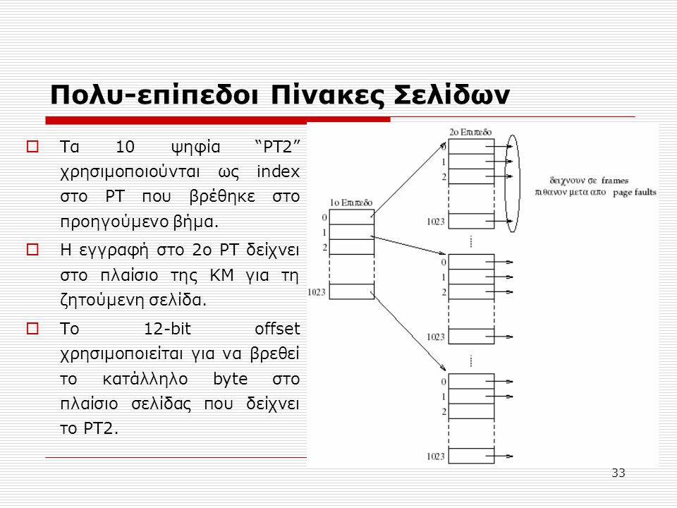 """33 Πολυ-επίπεδοι Πίνακες Σελίδων  Τα 10 ψηφία """"PT2"""" χρησιμοποιούνται ως index στο PT που βρέθηκε στο προηγούμενο βήμα.  Η εγγραφή στο 2ο PT δείχνει"""