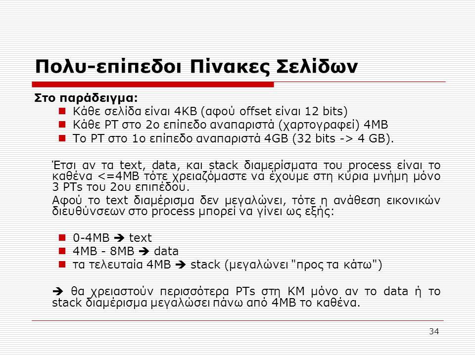 34 Πολυ-επίπεδοι Πίνακες Σελίδων Στο παράδειγμα:  Κάθε σελίδα είναι 4KB (αφού offset είναι 12 bits)  Κάθε PT στο 2ο επίπεδο αναπαριστά (χαρτογραφεί) 4MB  Το PT στο 1ο επίπεδο αναπαριστά 4GB (32 bits -> 4 GB).