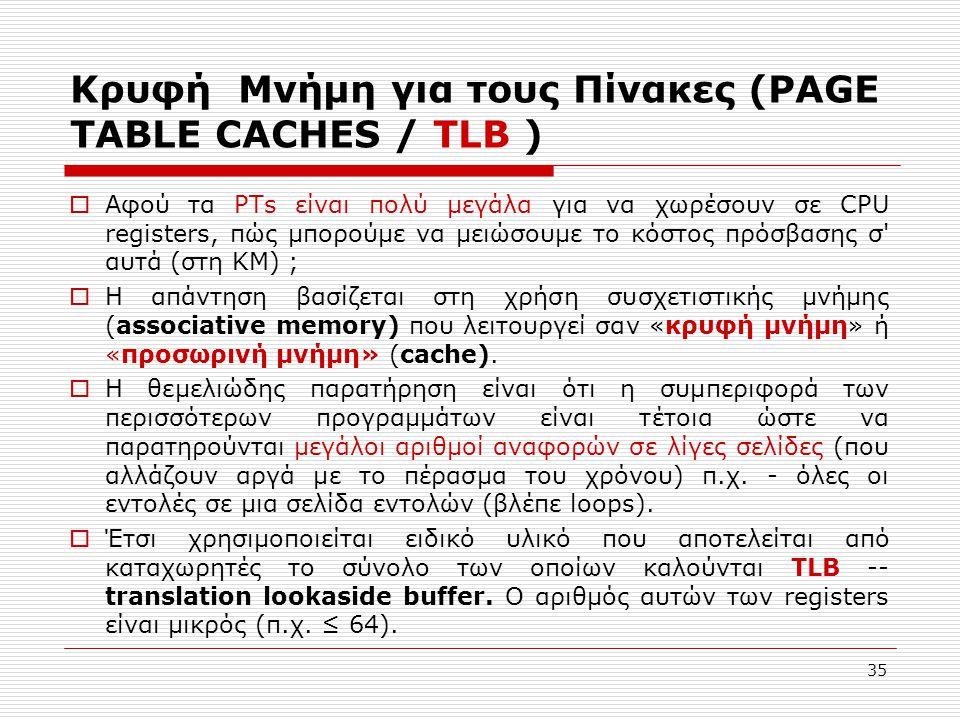 35 Κρυφή Μνήμη για τους Πίνακες (PAGE TABLE CACHES / TLB )  Αφού τα PTs είναι πολύ μεγάλα για να χωρέσουν σε CPU registers, πώς μπορούμε να μειώσουμε το κόστος πρόσβασης σ αυτά (στη ΚΜ) ;  Η απάντηση βασίζεται στη χρήση συσχετιστικής μνήμης (associative memory) που λειτουργεί σαν «κρυφή μνήμη» ή «προσωρινή μνήμη» (cache).
