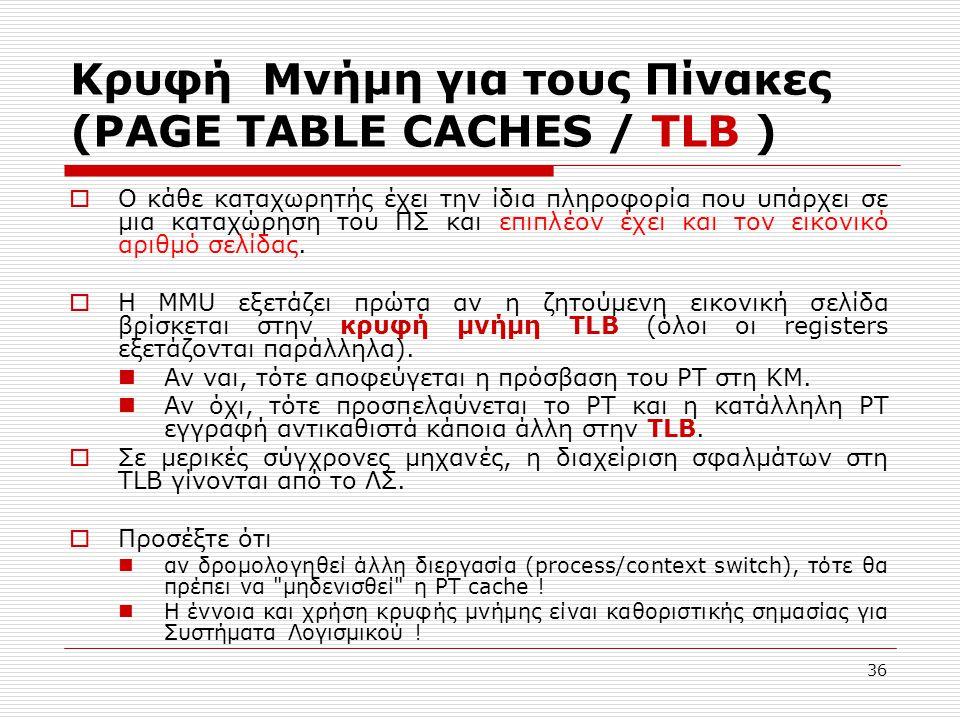 36 Κρυφή Μνήμη για τους Πίνακες (PAGE TABLE CACHES / TLB )  Ο κάθε καταχωρητής έχει την ίδια πληροφορία που υπάρχει σε μια καταχώρηση του ΠΣ και επιπλέον έχει και τον εικονικό αριθμό σελίδας.