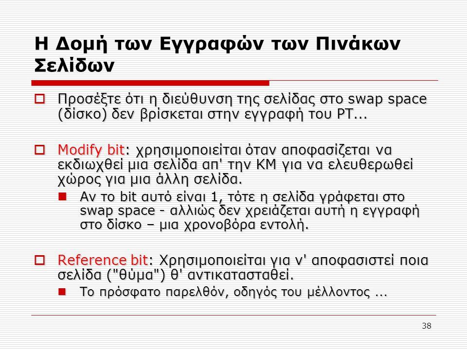38 Η Δομή των Εγγραφών των Πινάκων Σελίδων  Προσέξτε ότι η διεύθυνση της σελίδας στο swap space (δίσκο) δεν βρίσκεται στην εγγραφή του PT...  Modify