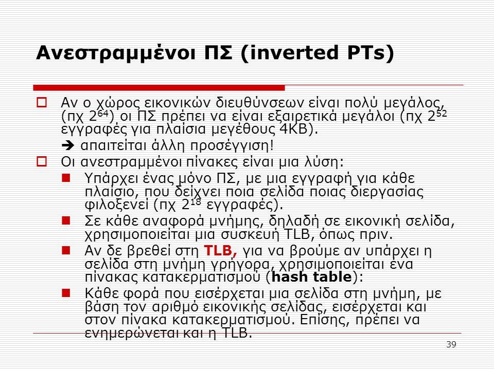 39 Ανεστραμμένοι ΠΣ (inverted PTs)  Αν ο χώρος εικονικών διευθύνσεων είναι πολύ μεγάλος, (πχ 2 64 ) οι ΠΣ πρέπει να είναι εξαιρετικά μεγάλοι (πχ 2 52 εγγραφές για πλαίσια μεγέθους 4ΚΒ).