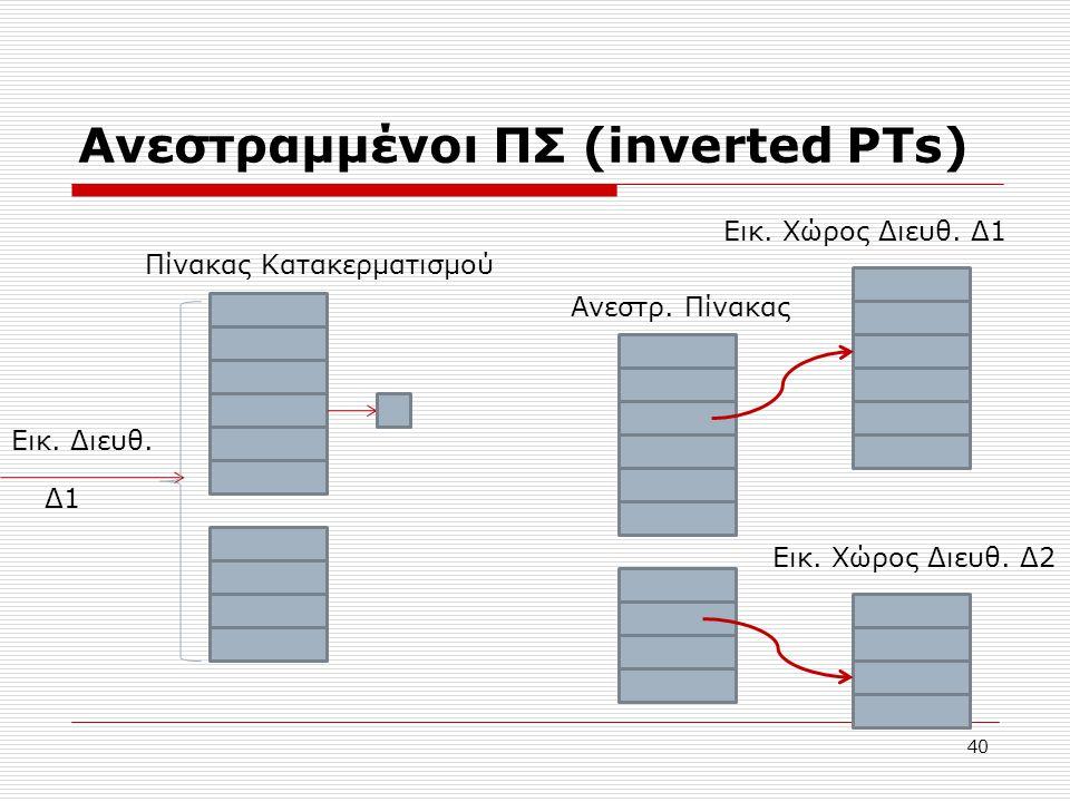 Ανεστραμμένοι ΠΣ (inverted PTs) 40 Εικ. Χώρος Διευθ. Δ1 Εικ. Χώρος Διευθ. Δ2 Ανεστρ. Πίνακας Πίνακας Κατακερματισμού Εικ. Διευθ. Δ1