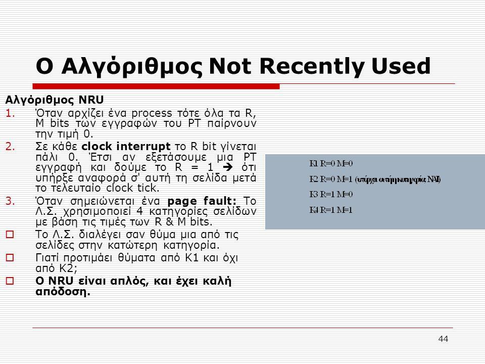 44 Ο Αλγόριθμος Not Recently Used Αλγόριθμος NRU 1.Όταν αρχίζει ένα process τότε όλα τα R, M bits των εγγραφών του PT παίρνουν την τιμή 0. 2.Σε κάθε c