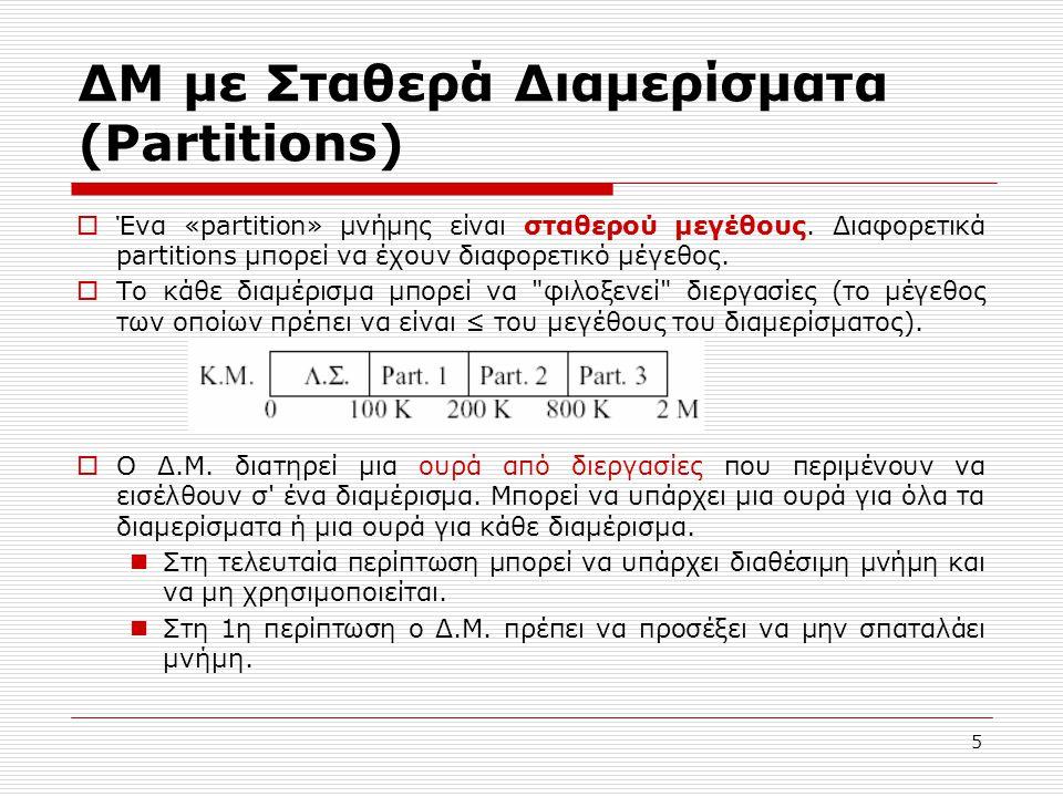 5 ΔΜ με Σταθερά Διαμερίσματα (Partitions)  Ένα «partition» μνήμης είναι σταθερού μεγέθους. Διαφορετικά partitions μπορεί να έχουν διαφορετικό μέγεθος