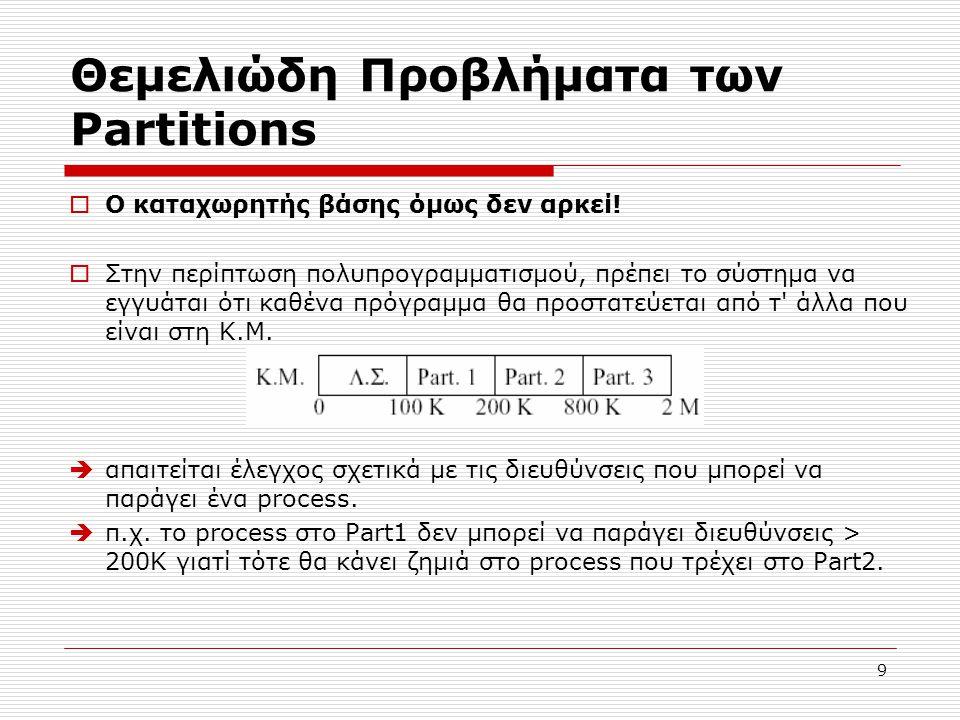 9 Θεμελιώδη Προβλήματα των Partitions  Ο καταχωρητής βάσης όμως δεν αρκεί!  Στην περίπτωση πολυπρογραμματισμού, πρέπει το σύστημα να εγγυάται ότι κα