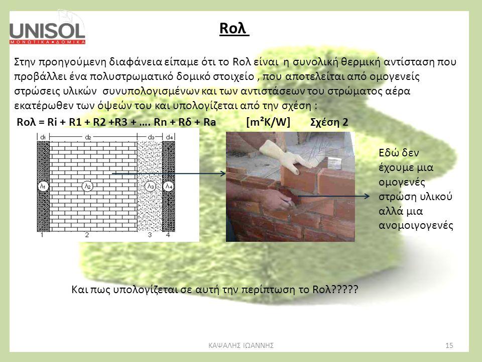15ΚΑΨΑΛΗΣ ΙΩΑΝΝΗΣ Rολ Στην προηγούμενη διαφάνεια είπαμε ότι το Rολ είναι η συνολική θερμική αντίσταση που προβάλλει ένα πολυστρωματικό δομικό στοιχείο