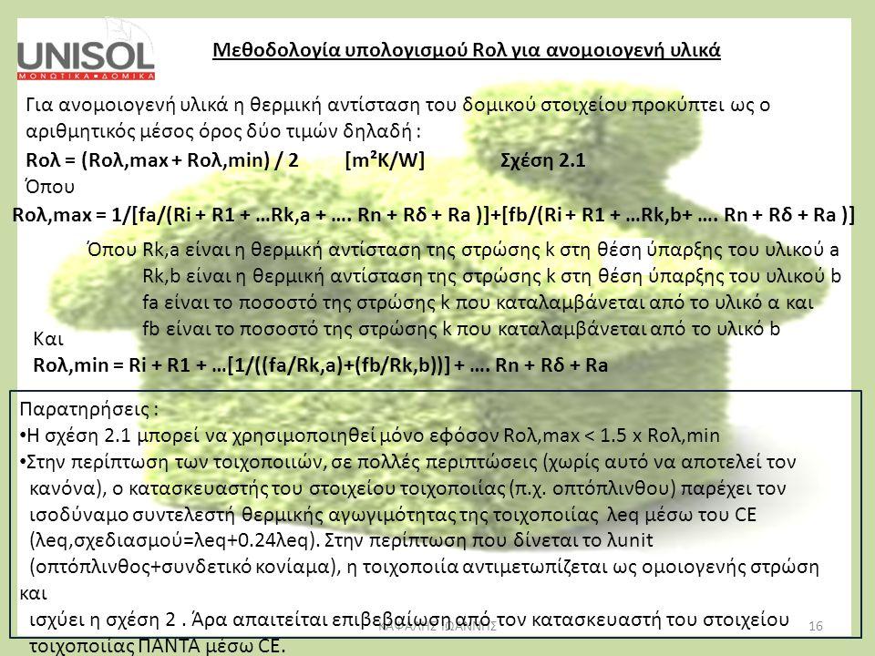 16ΚΑΨΑΛΗΣ ΙΩΑΝΝΗΣ Μεθοδολογία υπολογισμού Rολ για ανομοιογενή υλικά Για ανομοιογενή υλικά η θερμική αντίσταση του δομικού στοιχείου προκύπτει ως ο αρι