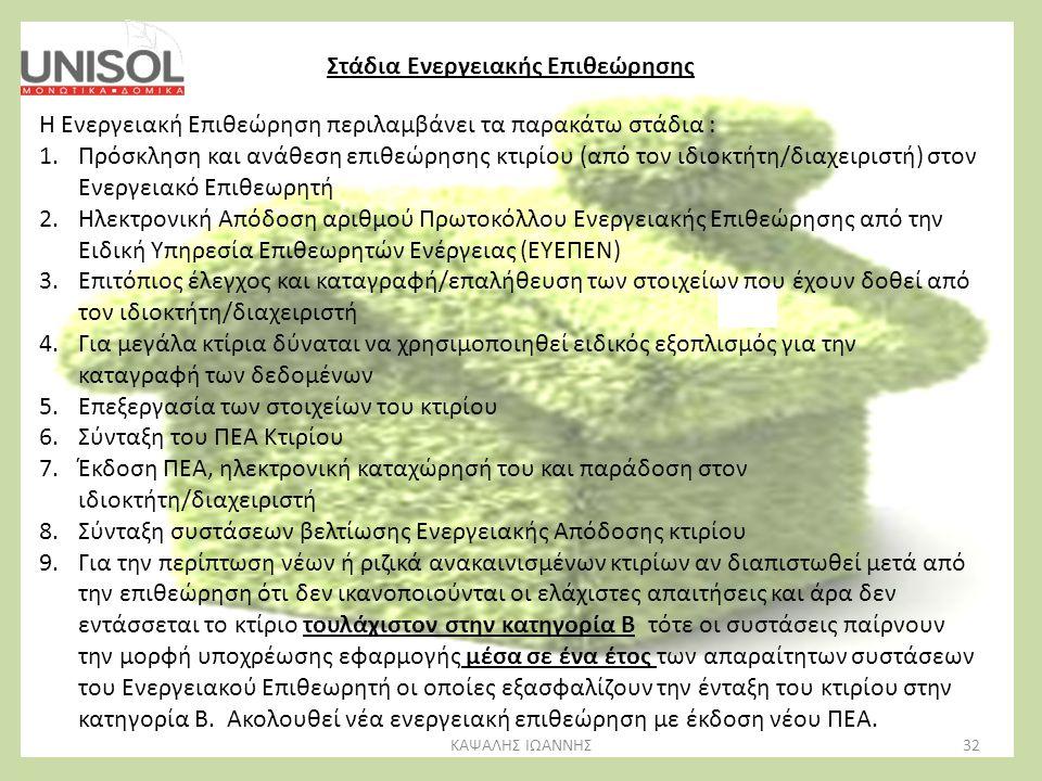 32ΚΑΨΑΛΗΣ ΙΩΑΝΝΗΣ Στάδια Ενεργειακής Επιθεώρησης Η Ενεργειακή Επιθεώρηση περιλαμβάνει τα παρακάτω στάδια : 1.Πρόσκληση και ανάθεση επιθεώρησης κτιρίου
