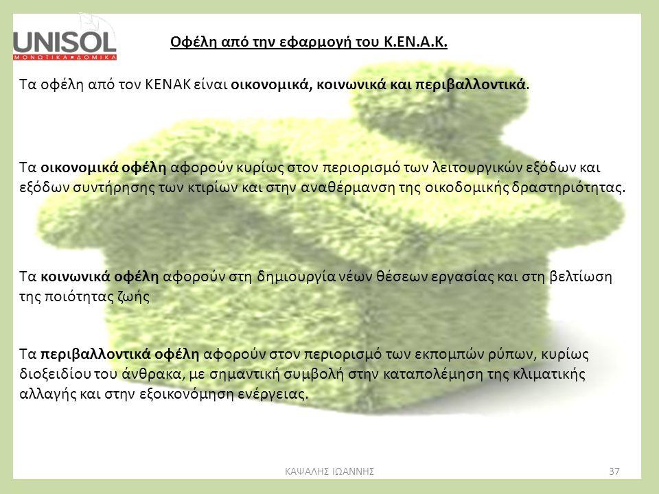 ΚΑΨΑΛΗΣ ΙΩΑΝΝΗΣ37 Οφέλη από την εφαρμογή του Κ.ΕΝ.Α.Κ. Τα οφέλη από τον ΚΕΝΑΚ είναι οικονομικά, κοινωνικά και περιβαλλοντικά. Τα οικονομικά οφέλη αφορ