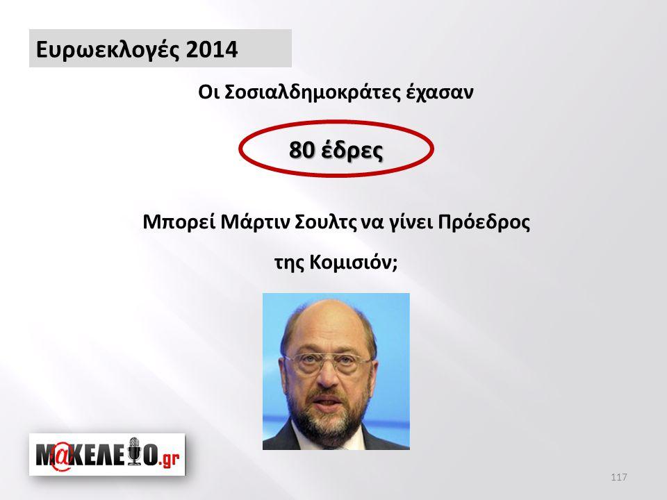 Οι Σοσιαλδημοκράτες έχασαν Μπορεί Μάρτιν Σουλτς να γίνει Πρόεδρος της Κομισιόν; 80 έδρες 117 Ευρωεκλογές 2014