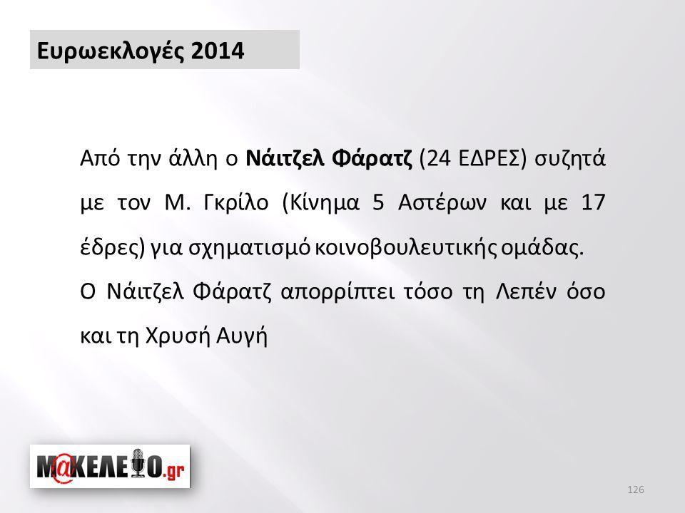126 Ευρωεκλογές 2014 Από την άλλη ο Νάιτζελ Φάρατζ (24 ΕΔΡΕΣ) συζητά με τον Μ.