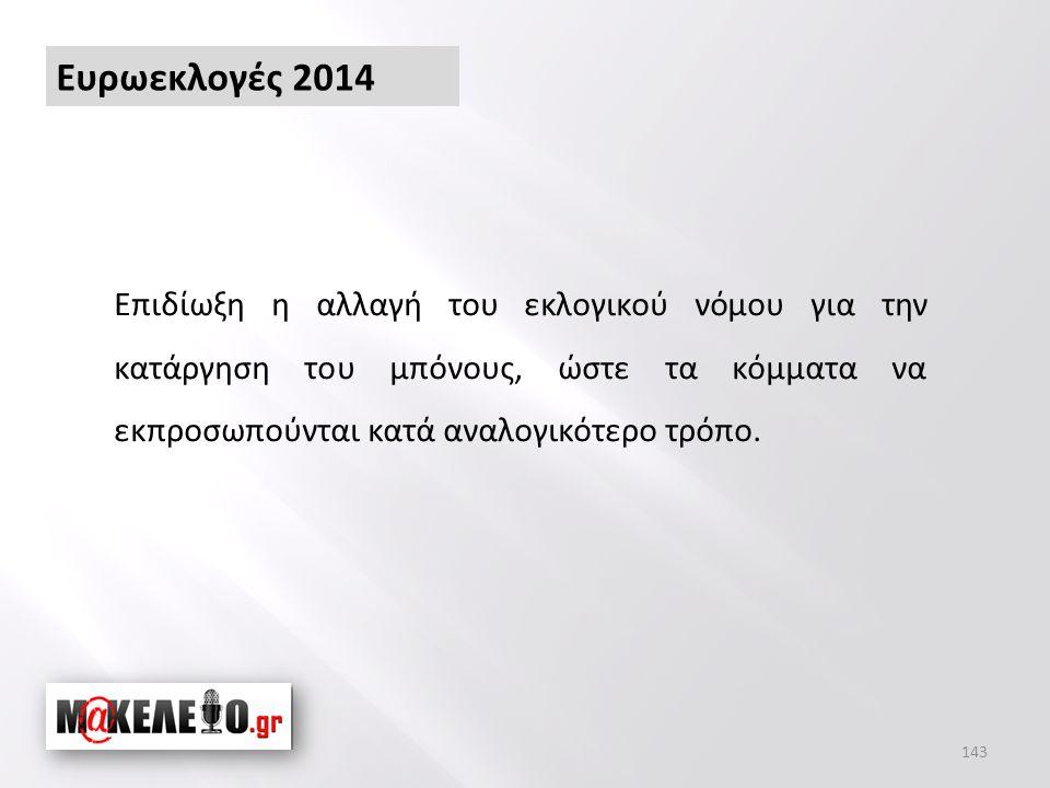 Ευρωεκλογές 2014 Επιδίωξη η αλλαγή του εκλογικού νόμου για την κατάργηση του μπόνους, ώστε τα κόμματα να εκπροσωπούνται κατά αναλογικότερο τρόπο.