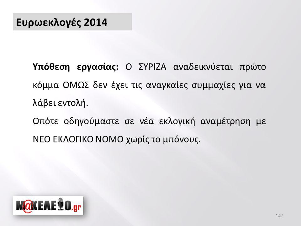 Ευρωεκλογές 2014 Υπόθεση εργασίας: Ο ΣΥΡΙΖΑ αναδεικνύεται πρώτο κόμμα ΟΜΩΣ δεν έχει τις αναγκαίες συμμαχίες για να λάβει εντολή.