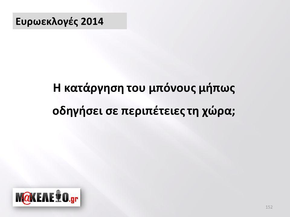 Ευρωεκλογές 2014 Η κατάργηση του μπόνους μήπως οδηγήσει σε περιπέτειες τη χώρα; 152
