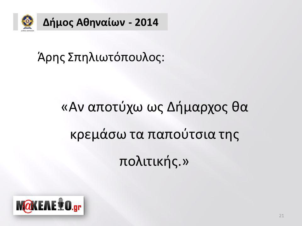 Δήμος Αθηναίων - 2014 21 Άρης Σπηλιωτόπουλος: «Αν αποτύχω ως Δήμαρχος θα κρεμάσω τα παπούτσια της πολιτικής.»
