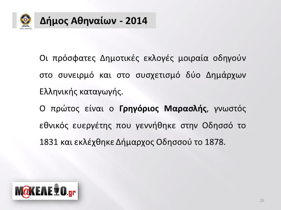 Δήμος Αθηναίων - 2014 Οι πρόσφατες Δημοτικές εκλογές μοιραία οδηγούν στο συνειρμό και στο συσχετισμό δύο Δημάρχων Ελληνικής καταγωγής.