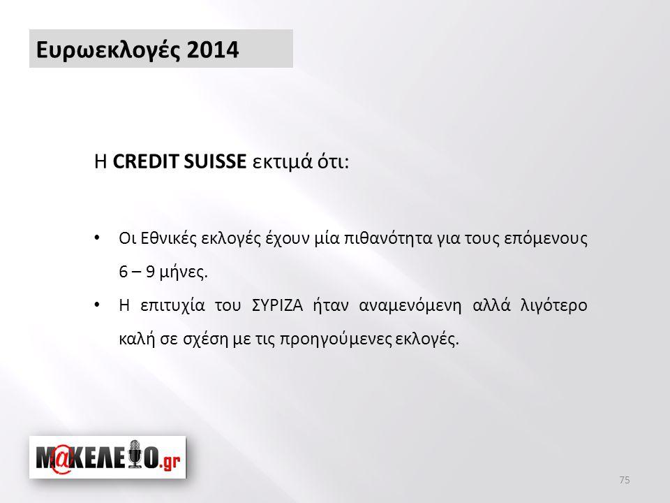 Ευρωεκλογές 2014 75 Η CREDIT SUISSE εκτιμά ότι: • Οι Εθνικές εκλογές έχουν μία πιθανότητα για τους επόμενους 6 – 9 μήνες.