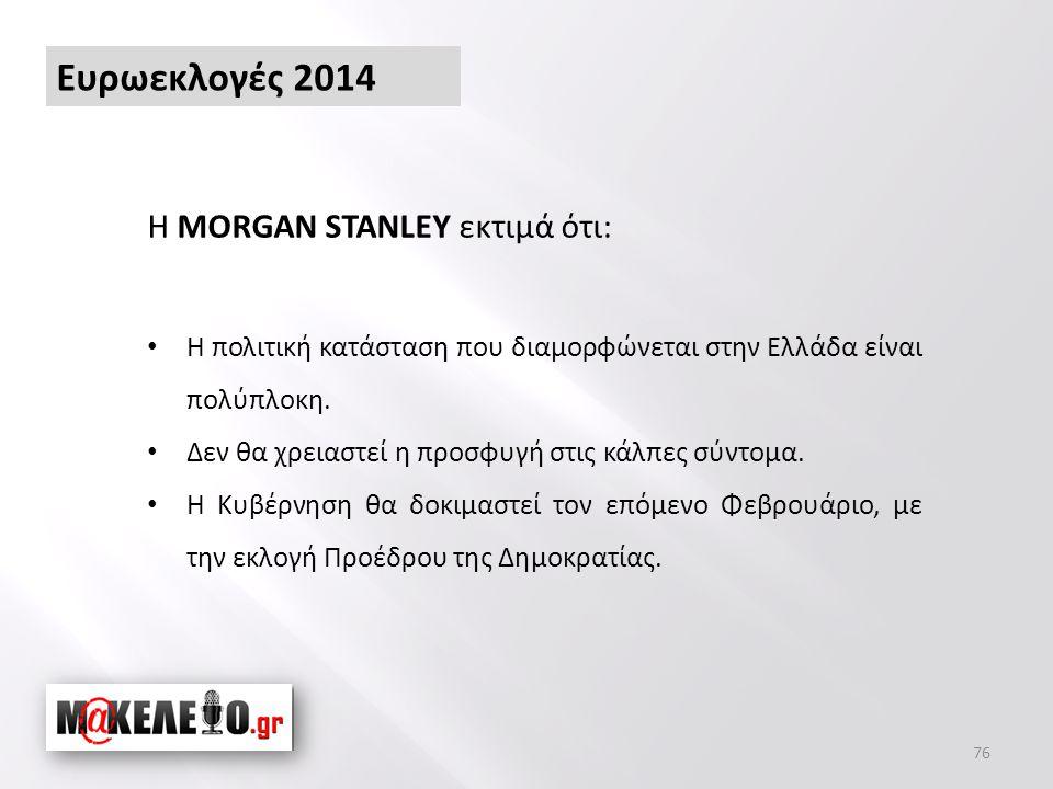 Ευρωεκλογές 2014 76 Η MORGAN STANLEY εκτιμά ότι: • Η πολιτική κατάσταση που διαμορφώνεται στην Ελλάδα είναι πολύπλοκη.