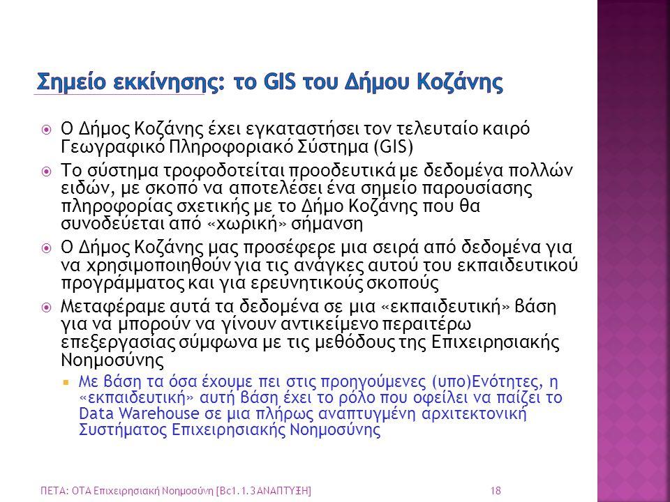  Ο Δήμος Κοζάνης έχει εγκαταστήσει τον τελευταίο καιρό Γεωγραφικό Πληροφοριακό Σύστημα (GIS)  Το σύστημα τροφοδοτείται προοδευτικά με δεδομένα πολλώ