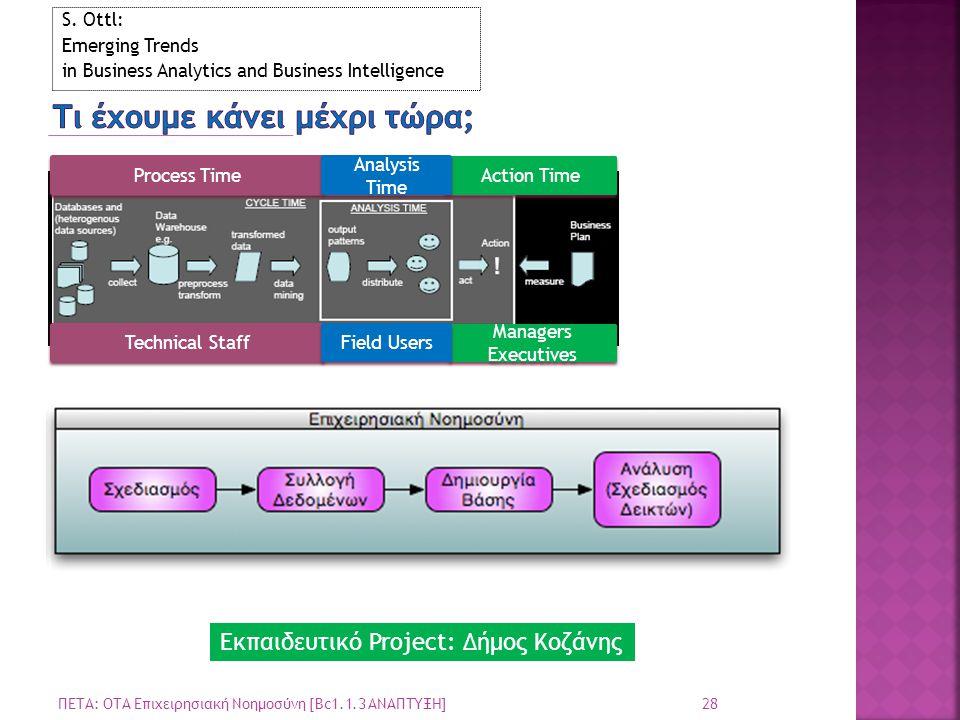 28 ΠΕΤΑ: ΟΤΑ Επιχειρησιακή Νοημοσύνη [Bc1.1.3 ΑΝΑΠΤΥΞΗ] S. Ottl: Emerging Trends in Business Analytics and Business Intelligence Process Time Action T
