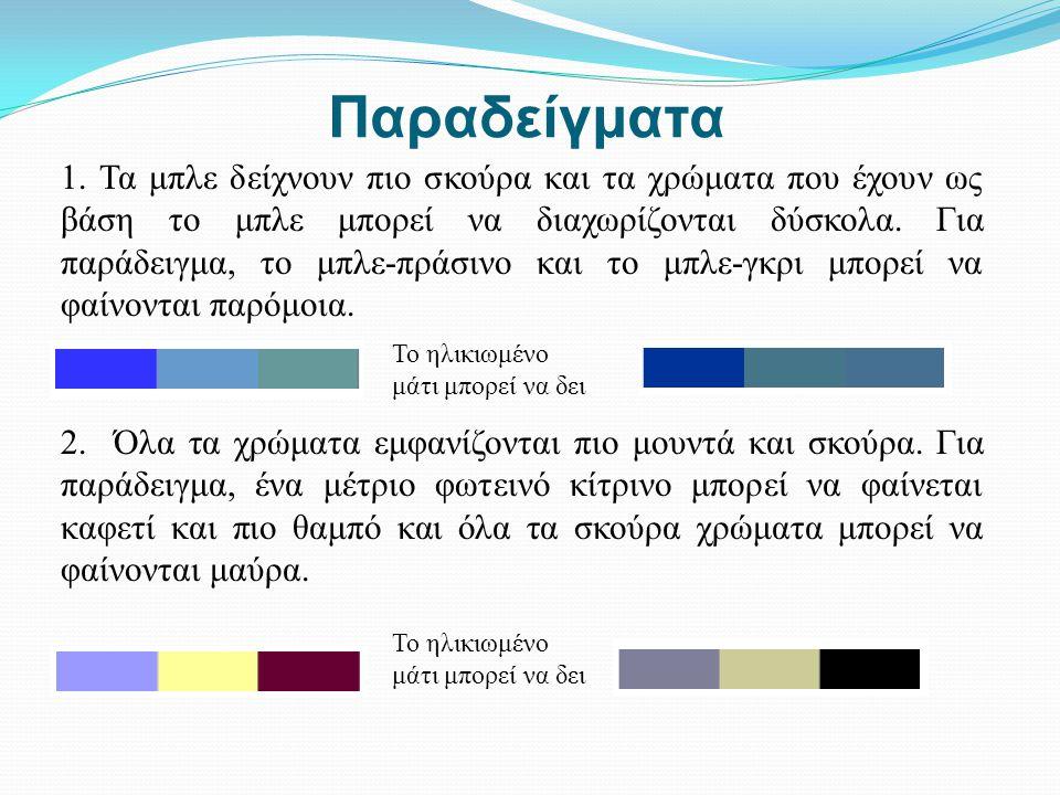 Παραδείγματα 1. Τα μπλε δείχνουν πιο σκούρα και τα χρώματα που έχουν ως βάση το μπλε μπορεί να διαχωρίζονται δύσκολα. Για παράδειγμα, το μπλε-πράσινο