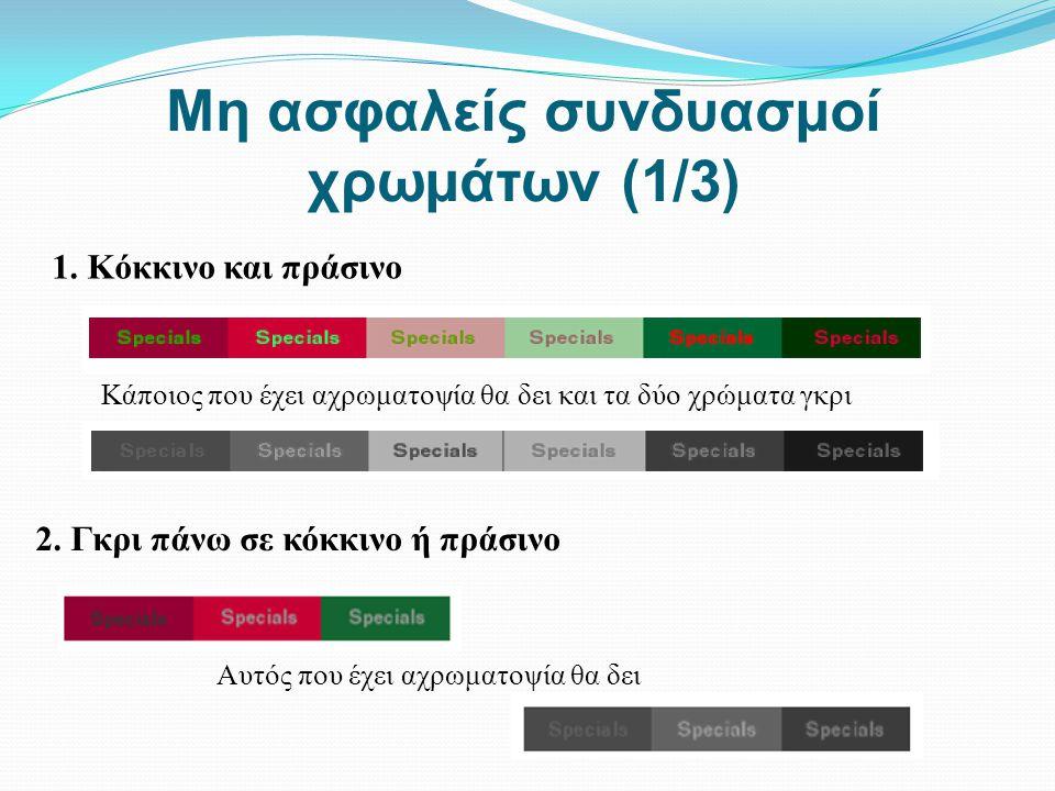 Μη ασφαλείς συνδυασμοί χρωμάτων (1/3) 1. Κόκκινο και πράσινο Κάποιος που έχει αχρωματοψία θα δει και τα δύο χρώματα γκρι 2. Γκρι πάνω σε κόκκινο ή πρά