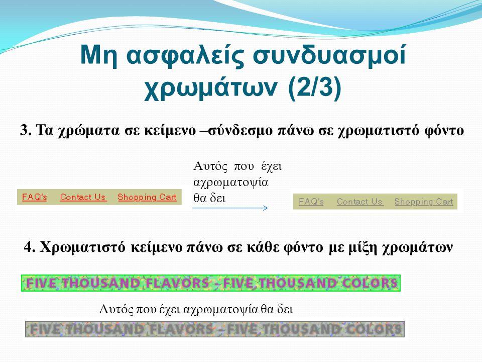 Μη ασφαλείς συνδυασμοί χρωμάτων (2/3) 3. Τα χρώματα σε κείμενο –σύνδεσμο πάνω σε χρωματιστό φόντο Αυτός που έχει αχρωματοψία θα δει 4. Χρωματιστό κείμ