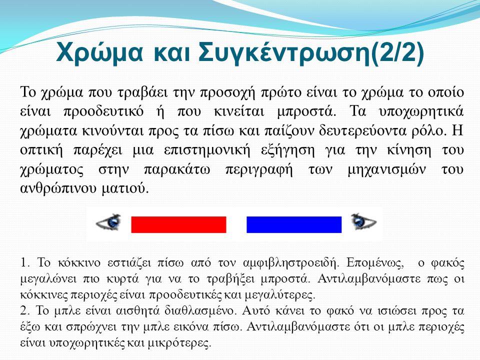 Χρώμα και Συγκέντρωση(2/2) Το χρώμα που τραβάει την προσοχή πρώτο είναι το χρώμα το οποίο είναι προοδευτικό ή που κινείται μπροστά. Τα υποχωρητικά χρώ