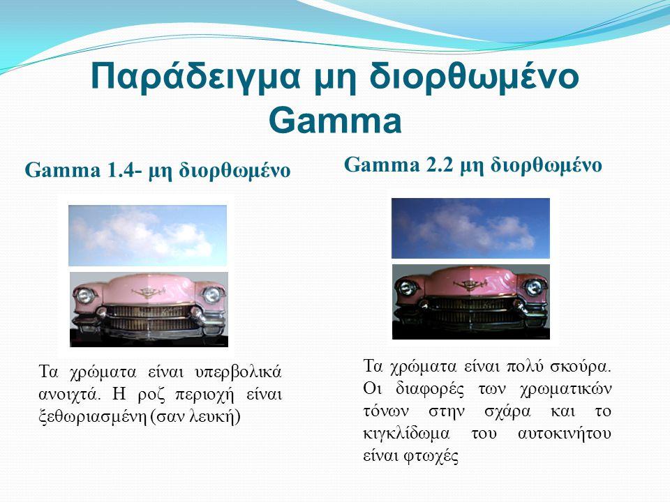 Παράδειγμα μη διορθωμένο Gamma Gamma 1.4- μη διορθωμένο Gamma 2.2 μη διορθωμένο Τα χρώματα είναι υπερβολικά ανοιχτά. Η ροζ περιοχή είναι ξεθωριασμένη