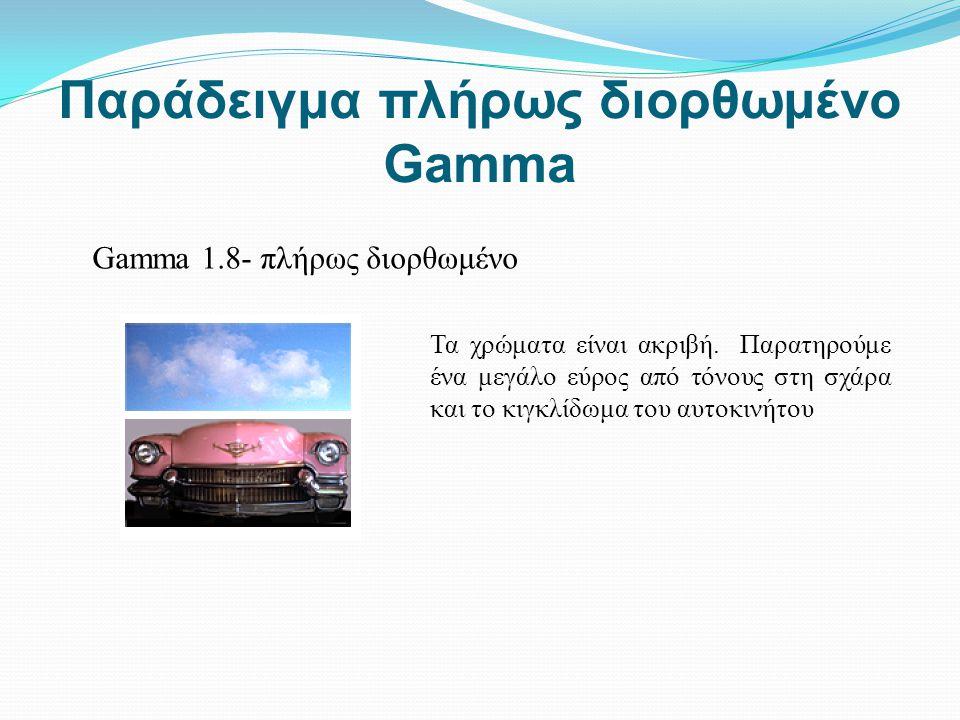 Παράδειγμα πλήρως διορθωμένο Gamma Gamma 1.8- πλήρως διορθωμένο Τα χρώματα είναι ακριβή. Παρατηρούμε ένα μεγάλο εύρος από τόνους στη σχάρα και το κιγκ