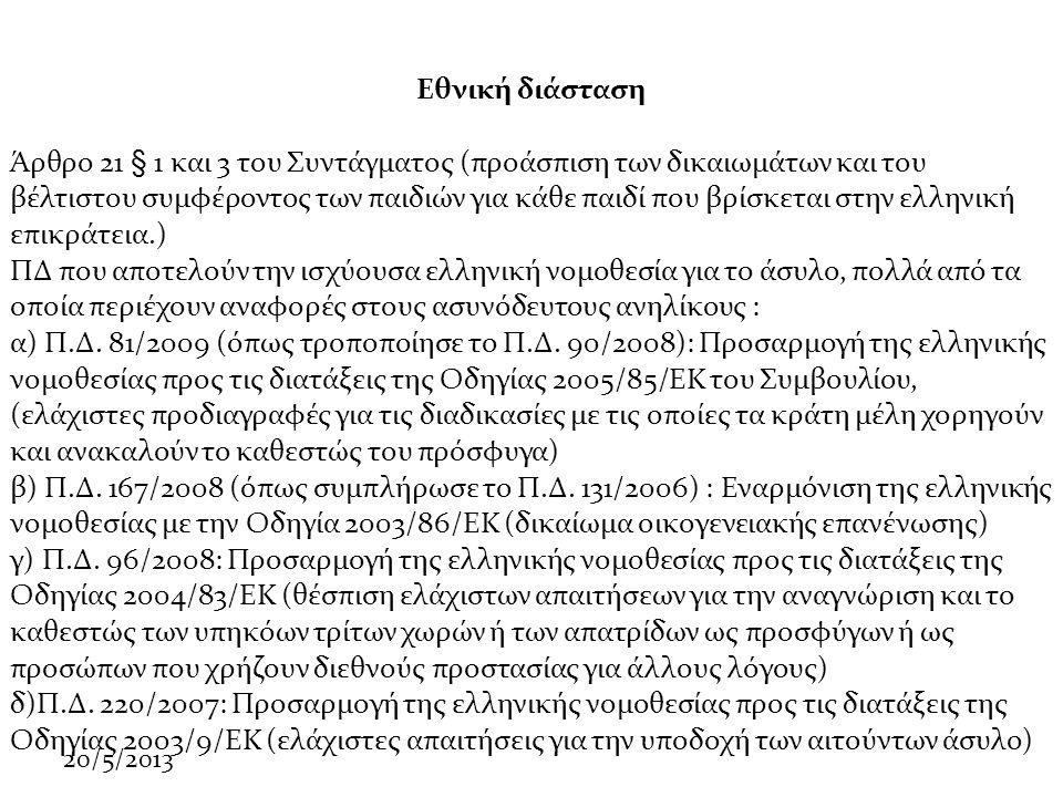 20/5/2013 Εθνική διάσταση Άρθρο 21 § 1 και 3 του Συντάγματος (προάσπιση των δικαιωμάτων και του βέλτιστου συμφέροντος των παιδιών για κάθε παιδί που βρίσκεται στην ελληνική επικράτεια.) ΠΔ που αποτελούν την ισχύουσα ελληνική νομοθεσία για το άσυλο, πολλά από τα οποία περιέχουν αναφορές στους ασυνόδευτους ανηλίκους : α) Π.Δ.