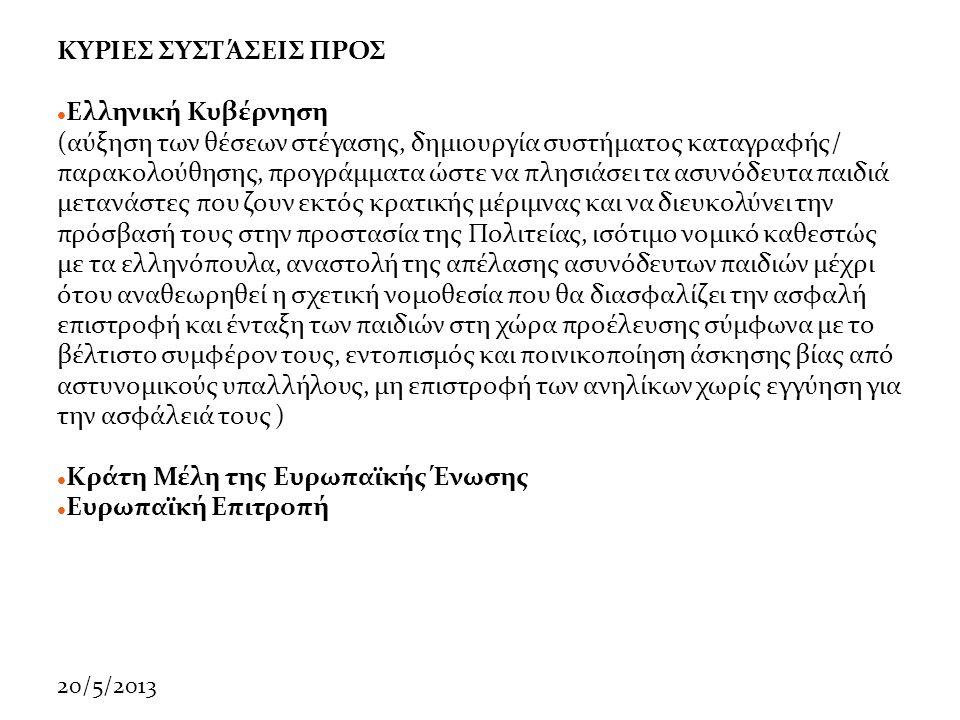 20/5/2013 ΚΥΡΙΕΣ ΣΥΣΤΆΣΕΙΣ ΠΡΟΣ  Ελληνική Κυβέρνηση (αύξηση των θέσεων στέγασης, δημιουργία συστήματος καταγραφής/ παρακολούθησης, προγράμματα ώστε να πλησιάσει τα ασυνόδευτα παιδιά μετανάστες που ζουν εκτός κρατικής μέριμνας και να διευκολύνει την πρόσβασή τους στην προστασία της Πολιτείας, ισότιμο νομικό καθεστώς με τα ελληνόπουλα, αναστολή της απέλασης ασυνόδευτων παιδιών μέχρι ότου αναθεωρηθεί η σχετική νομοθεσία που θα διασφαλίζει την ασφαλή επιστροφή και ένταξη των παιδιών στη χώρα προέλευσης σύμφωνα με το βέλτιστο συμφέρον τους, εντοπισμός και ποινικοποίηση άσκησης βίας από αστυνομικούς υπαλλήλους, μη επιστροφή των ανηλίκων χωρίς εγγύηση για την ασφάλειά τους )  Κράτη Μέλη της Ευρωπαϊκής Ένωσης  Ευρωπαϊκή Επιτροπή