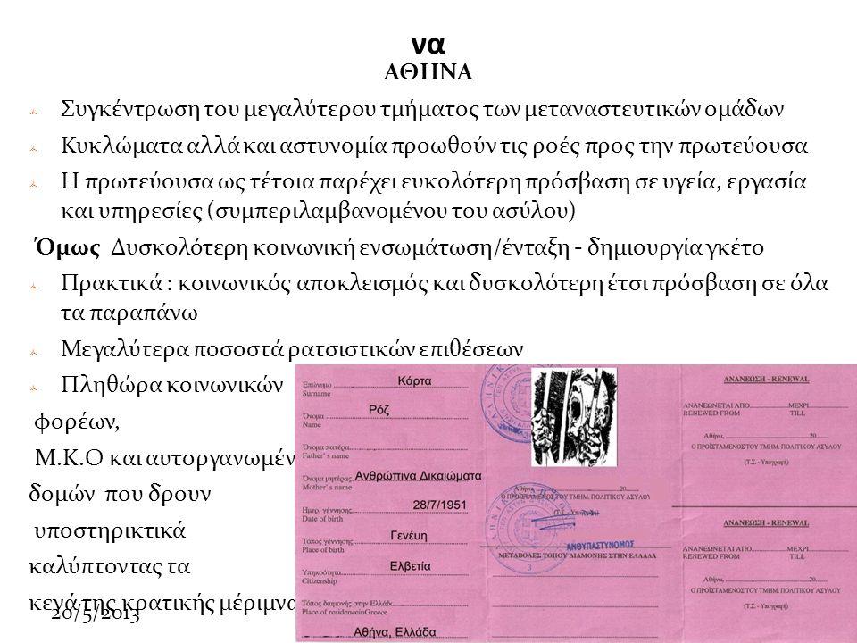 20/5/2013 να ΑΘΗΝΑ  Συγκέντρωση του μεγαλύτερου τμήματος των μεταναστευτικών ομάδων  Κυκλώματα αλλά και αστυνομία προωθούν τις ροές προς την πρωτεύουσα  Η πρωτεύουσα ως τέτοια παρέχει ευκολότερη πρόσβαση σε υγεία, εργασία και υπηρεσίες (συμπεριλαμβανομένου του ασύλου) Όμως Δυσκολότερη κοινωνική ενσωμάτωση/ένταξη - δημιουργία γκέτο  Πρακτικά : κοινωνικός αποκλεισμός και δυσκολότερη έτσι πρόσβαση σε όλα τα παραπάνω  Μεγαλύτερα ποσοστά ρατσιστικών επιθέσεων  Πληθώρα κοινωνικών φορέων, Μ.Κ.Ο και αυτοργανωμένων δομών που δρουν υποστηρικτικά καλύπτοντας τα κενά της κρατικής μέριμνας.