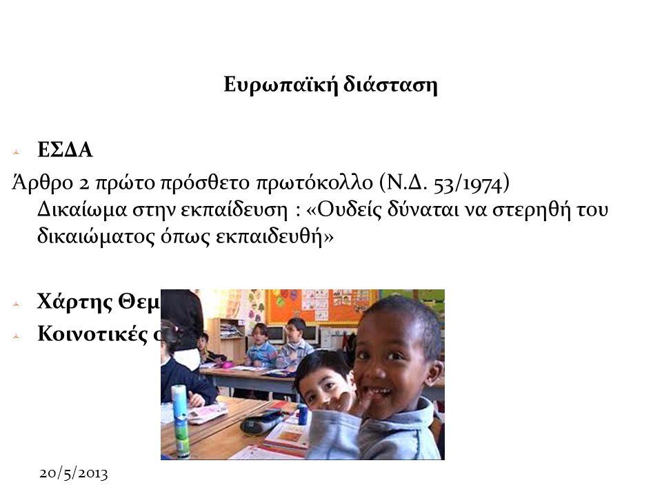 20/5/2013 Ευρωπαϊκή διάσταση  ΕΣΔΑ Άρθρο 2 πρώτο πρόσθετο πρωτόκολλο (Ν.Δ.