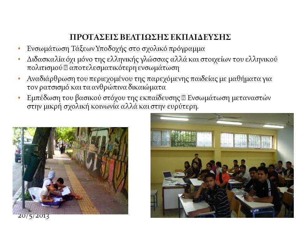 20/5/2013 ΠΡΟΤΑΣΕΙΣ ΒΕΛΤΙΩΣΗΣ ΕΚΠΑΙΔΕΥΣΗΣ • Ενσωμάτωση Τάξεων Υποδοχής στο σχολικό πρόγραμμα • Διδασκαλία όχι μόνο της ελληνικής γλώσσας αλλά και στοιχείων του ελληνικού πολιτισμού  αποτελεσματικότερη ενσωμάτωση • Αναδιάρθρωση του περιεχομένου της παρεχόμενης παιδείας με μαθήματα για τον ρατσισμό και τα ανθρώπινα δικαιώματα • Εμπέδωση του βασικού στόχου της εκπαίδευσης  Ενσωμάτωση μεταναστών στην μικρή σχολική κοινωνία αλλά και στην ευρύτερη.