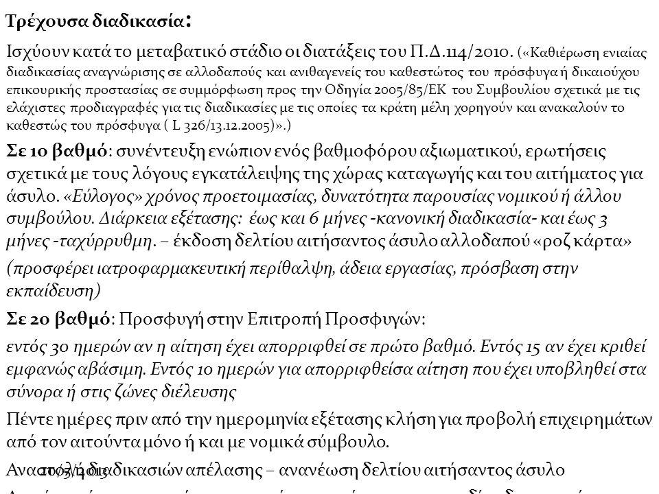 20/5/2013 Τρέχουσα διαδικασία : Ισχύουν κατά το μεταβατικό στάδιο οι διατάξεις του Π.Δ.114/2010.
