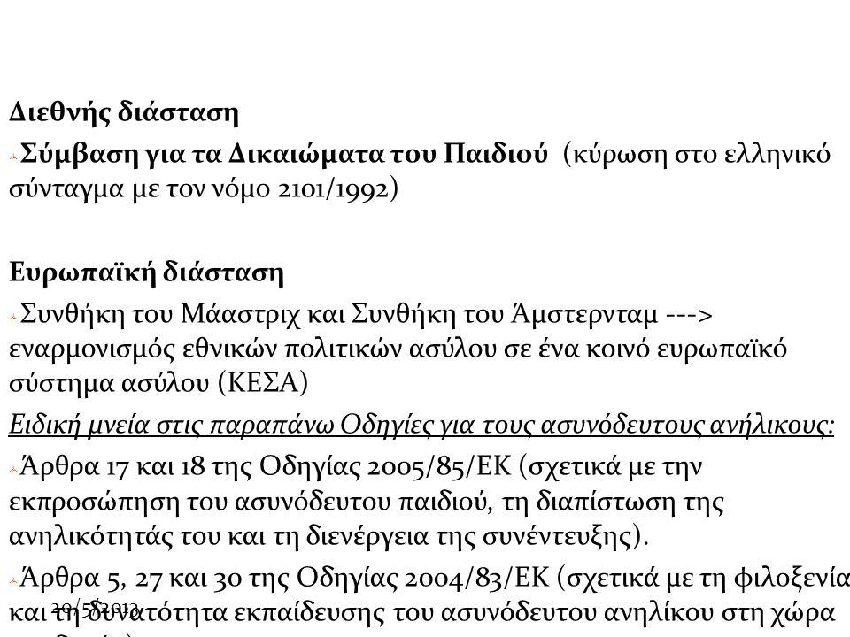 20/5/2013 Διεθνής διάσταση  Σύμβαση για τα Δικαιώματα του Παιδιού (κύρωση στο ελληνικό σύνταγμα με τον νόμο 2101/1992) Ευρωπαϊκή διάσταση  Συνθήκη του Μάαστριχ και Συνθήκη του Άμστερνταμ ---> εναρμονισμός εθνικών πολιτικών ασύλου σε ένα κοινό ευρωπαϊκό σύστημα ασύλου (ΚΕΣΑ) Ειδική μνεία στις παραπάνω Οδηγίες για τους ασυνόδευτους ανήλικους:  Άρθρα 17 και 18 της Οδηγίας 2005/85/ΕΚ (σχετικά με την εκπροσώπηση του ασυνόδευτου παιδιού, τη διαπίστωση της ανηλικότητάς του και τη διενέργεια της συνέντευξης).