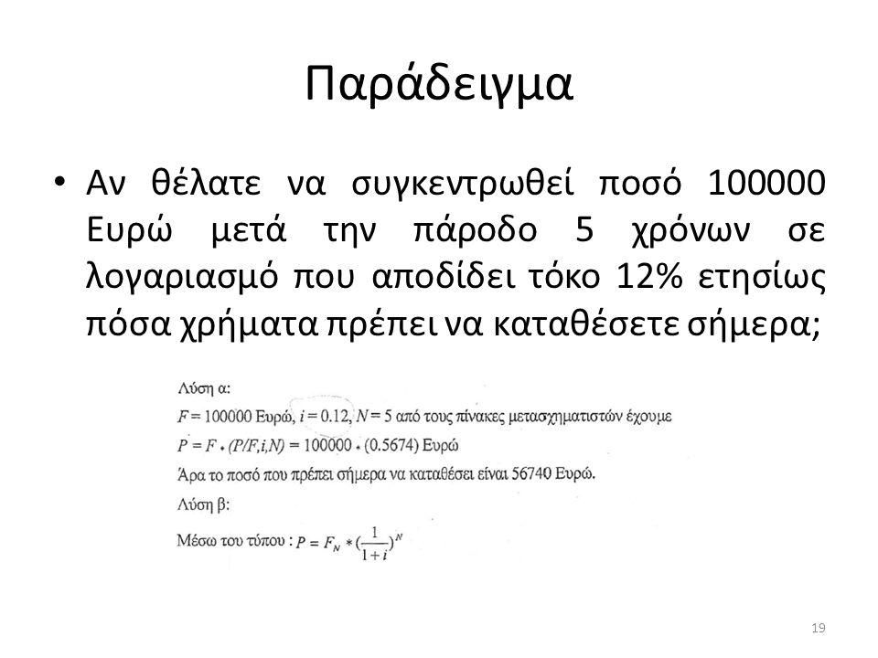 Παράδειγμα • Αν θέλατε να συγκεντρωθεί ποσό 100000 Ευρώ μετά την πάροδο 5 χρόνων σε λογαριασμό που αποδίδει τόκο 12% ετησίως πόσα χρήματα πρέπει να καταθέσετε σήμερα; 19