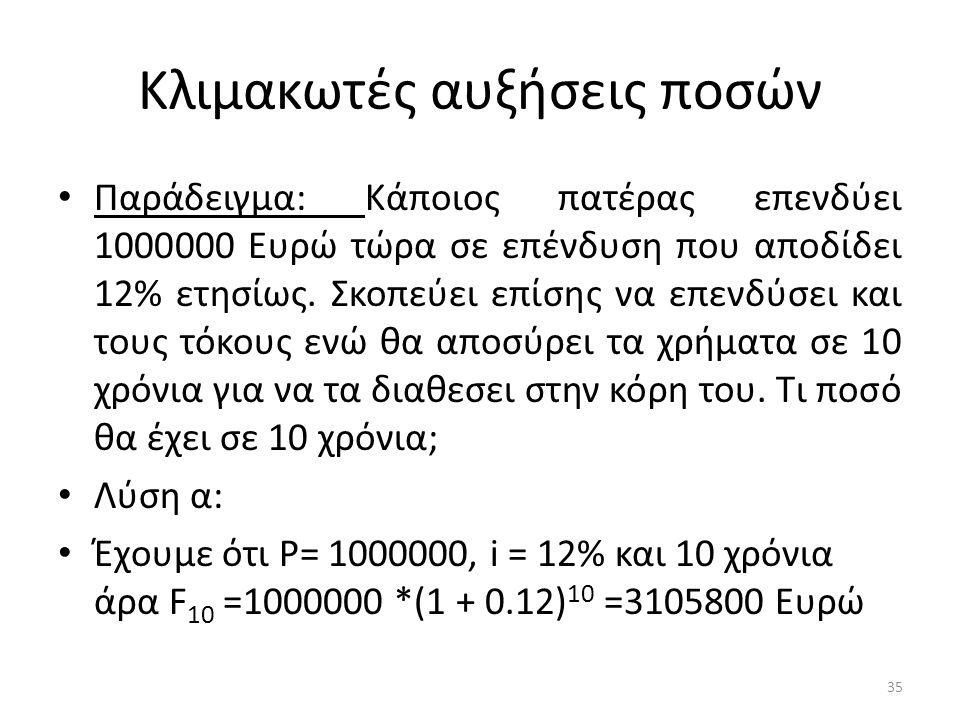 Κλιμακωτές αυξήσεις ποσών • Παράδειγμα: Κάποιος πατέρας επενδύει 1000000 Ευρώ τώρα σε επένδυση που αποδίδει 12% ετησίως.