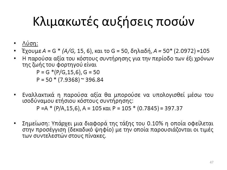 Κλιμακωτές αυξήσεις ποσών • Λύση: • Έχουμε Α = G * (A/G, 15, 6), και το G = 50, δηλαδή, Α = 50* (2.0972) =105 • Η παρούσα αξία του κόστους συντήρησης για την περίοδο των έξι χρόνων της ζωής του φορτηγού είναι Ρ = G *(P/G,15,6), G = 50 Ρ = 50 * (7.9368) ~ 396.84 • Εναλλακτικά η παρούσα αξία θα μπορούσε να υπολογισθεί μέσω του ισοδύναμου ετήσιου κόστους συντήρησης: Ρ =Α * (Ρ/Α,15,6), Α = 105 και Ρ = 105 * (0.7845) = 397.37 • Σημείωση: Υπάρχει μια διαφορά της τάξης του 0.10% η οποία οφείλεται στην προσέγγιση (δεκαδικό ψηφίο) με την οποία παρουσιάζονται οι τιμές των συντελεστών στους πίνακες.