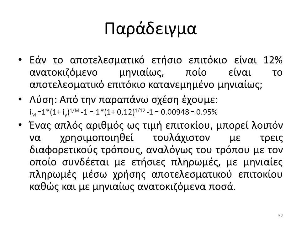 Παράδειγμα • Εάν το αποτελεσματικό ετήσιο επιτόκιο είναι 12% ανατοκιζόμενο μηνιαίως, ποίο είναι το αποτελεσματικό επιτόκιο κατανεμημένο μηνιαίως; • Λύση: Από την παραπάνω σχέση έχουμε: i M =1*(1+ i γ ) 1/M -1 = 1*(1+ 0,12) 1/12 -1 = 0.00948 = 0.95% • Ένας απλός αριθμός ως τιμή επιτοκίου, μπορεί λοιπόν να χρησιμοποιηθεί τουλάχιστον με τρεις διαφορετικούς τρόπους, αναλόγως του τρόπου με τον οποίο συνδέεται με ετήσιες πληρωμές, με μηνιαίες πληρωμές μέσω χρήσης αποτελεσματικού επιτοκίου καθώς και με μηνιαίως ανατοκιζόμενα ποσά.