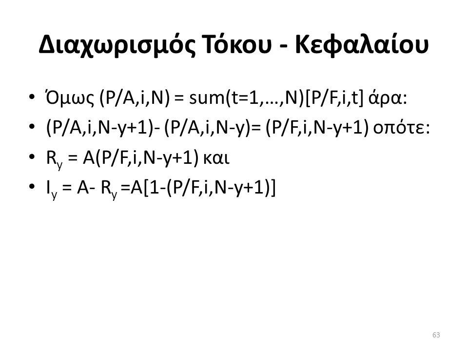 Διαχωρισμός Τόκου - Κεφαλαίου • Όμως (P/A,i,N) = sum(t=1,…,N)[P/F,i,t] άρα: • (P/A,i,N-y+1)- (P/A,i,N-y)= (P/F,i,N-y+1) οπότε: • R y = Α(P/F,i,N-y+1) και • Ι y = Α- R y =A[1-(P/F,i,N-y+1)] 63