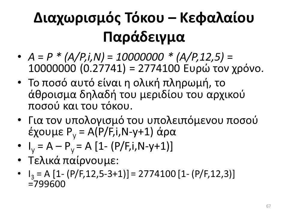 Διαχωρισμός Τόκου – Κεφαλαίου Παράδειγμα • Α = Ρ * (Α/Ρ,i,Ν) = 10000000 * (Α/Ρ,12,5) = 10000000 (0.27741) = 2774100 Ευρώ τον χρόνο.