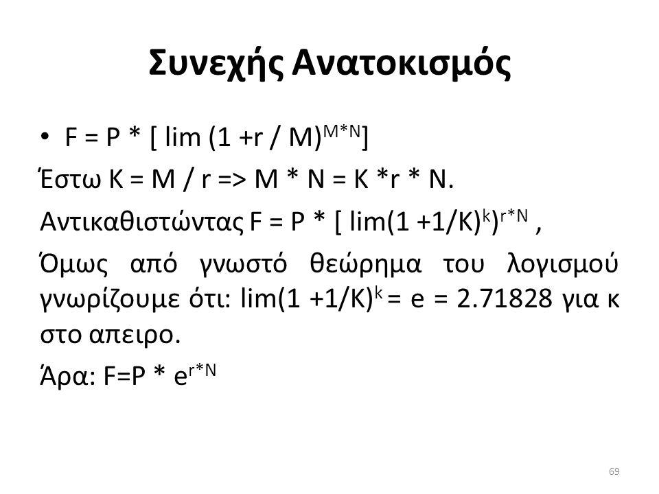 Συνεχής Aνατoκισμός • F = Ρ * [ lim (1 +r / Μ) M*N ] Έστω Κ = Μ / r => Μ * Ν = Κ *r * Ν.